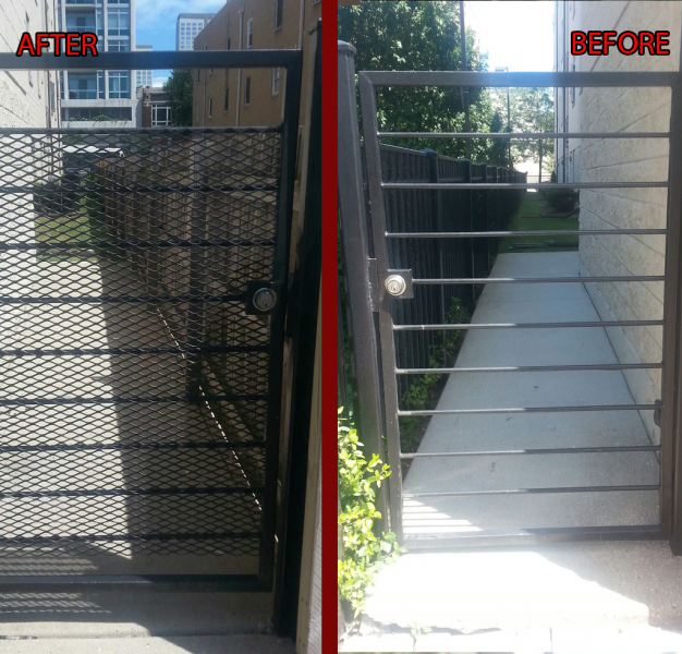Ironwork Security Gate Installation with Mesh