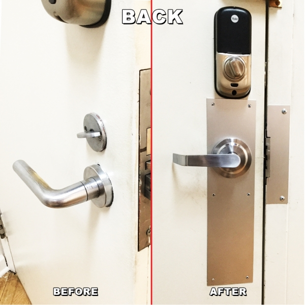 Lock change from mortise lock To leaver and key pad back